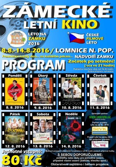 Zámecké letní kino promítá v Lomnici nad Popelkou již počtvrté