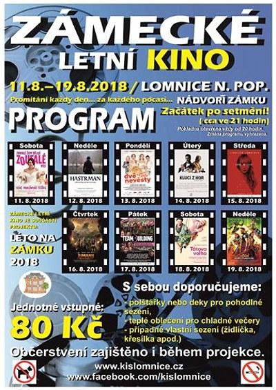 Zámecké letní kino v Lomnici pofrčí především na české filmové vlně