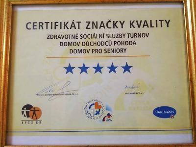 Zdravotně sociální služby Turnov obhájily 5 hvězd Značky kvality