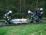 Hasiči cvičili souhru při železničním neštěstí
