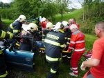 V Horní Sytové se střetl vlak s autem, zaklíněné lidi vyprošťovali hasiči