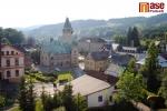 Pohled z hlavní budovy Rotextile na město Rokytnice nad Jizerou