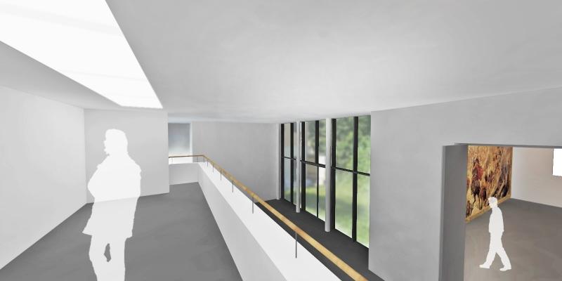 Jeden z návrhů na stavební úpravy v prostoru Galerie muzea (Projektový ateliér David)
