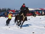 FOTO: V Martinicích poprvé jezdili lyžaři tažení koňmi