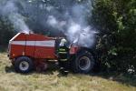 Požár traktoru v Oldřichově v Hájích