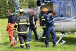 Taktické cvičení složek IZS, jejímž námětem byl nácvik přepravy kynologů s využitím vrtulníku