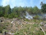 Likvidace požáru lesní paseky nedaleko Kacanov