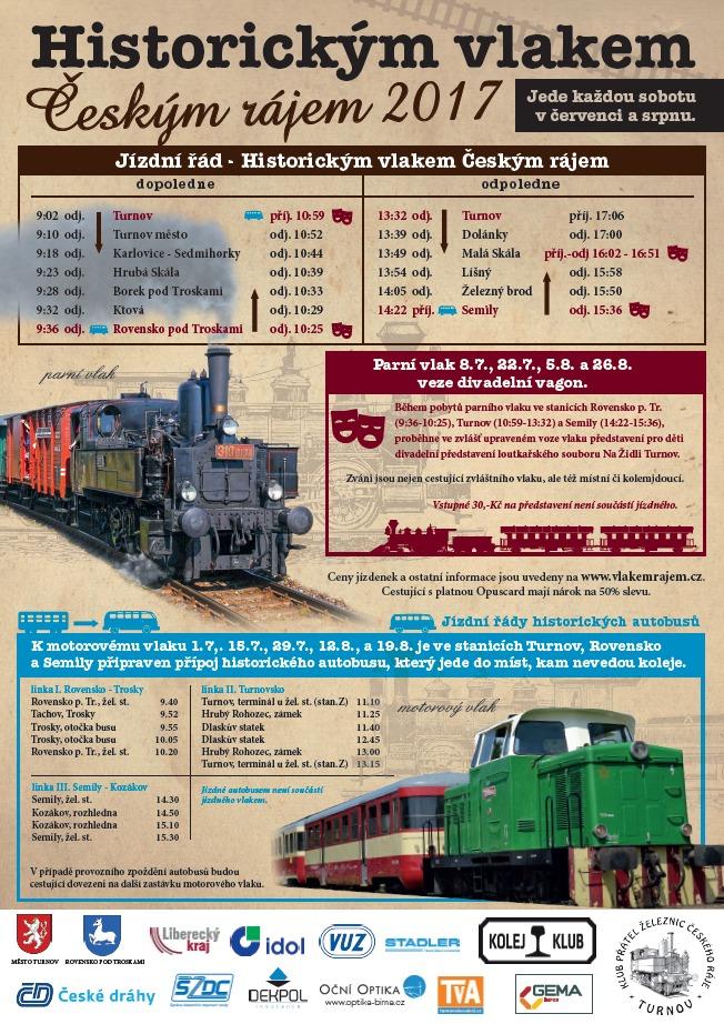 Plakát Historickým vlakem Českým rájem 2017