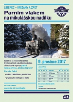 Parní vlak s mikulášskou nadílkou na trase Liberec - Křižany