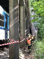 Hasičské cvičení s tématem železniční <a href=