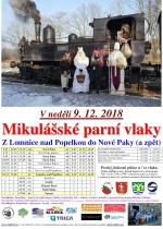 Mikulášské parní vlaky z Lomnice nad Popelkou do Nové Paky a zpět