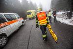 Cvičení složek IZS s nehodou autobusu na hřebeni Krkonoš