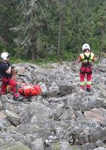 Záchrana horolezce na Hnědých skalách u Strážného