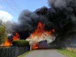 Požár chaty v obci Noviny pod Ralskem