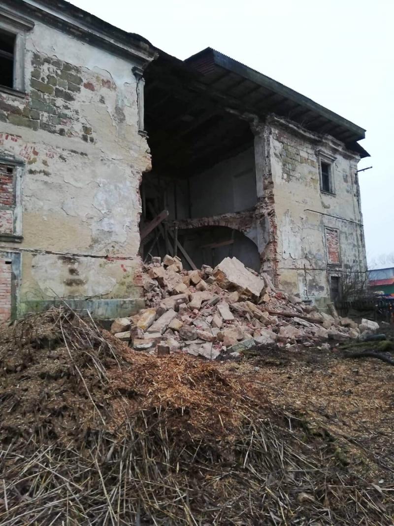 Spadlá zeď hospodářského dvora v Zákupech<br />Autor: Archiv NPÚ, ÚPS na Sychrově