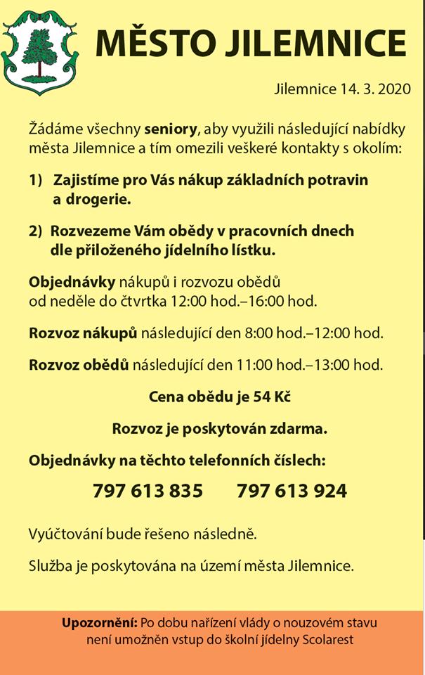 Donášky nákupů a obědů pro seniory a nemocné v Jilemnici
