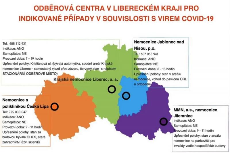 Odběrová místa v Libereckém kraji<br />Autor: Archiv KÚ Libereckého kraje