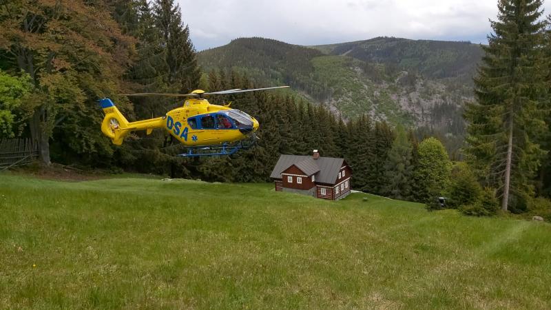 Zásah horské služby v lokalitě boudy Na křižovatce nad Velkou Úpou