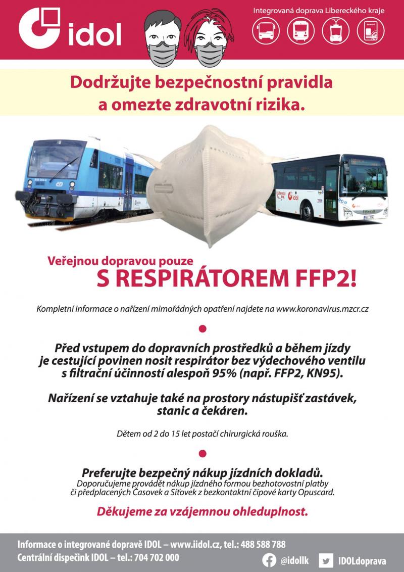 V dopravě už jen s respirátorem FFP2<br />Autor: Archiv KÚ Libereckého kraje