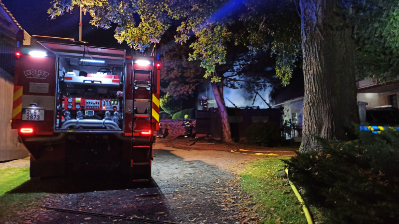 Požár garáže v obci Stružinec