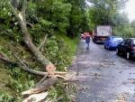 FOTO: Páteční bouřka lámala stromy i lampy a odnášela střechy